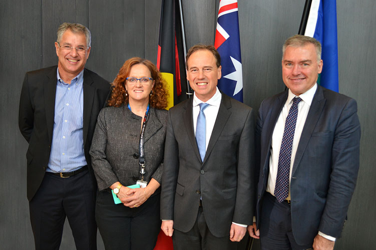 L-R: Professor Steve Wesselingh - SA Centre Honourary Director and Chair of the Board, Ms Wendy Keech - SA Centre CEO, the Honourable Greg Hunt MP - Federal Minister for Health, the Honourable Stephen Wade MLC - SA Minister for Health.